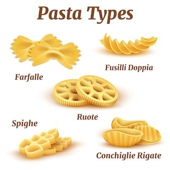 Set di tipi di pasta italiana tradizionale realistica