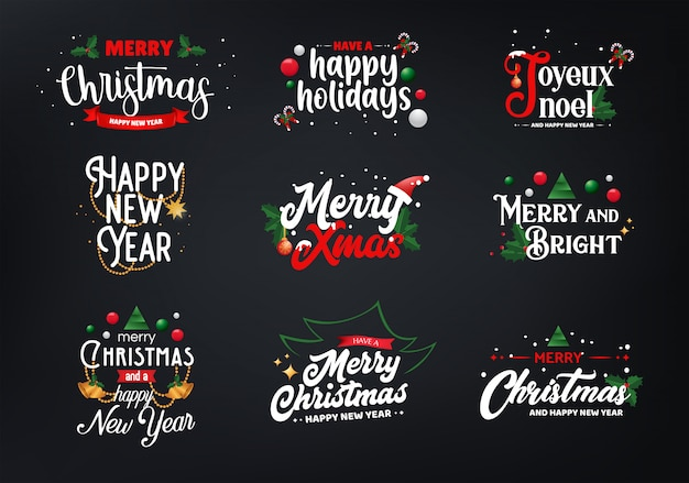Set di tipografia natalizia