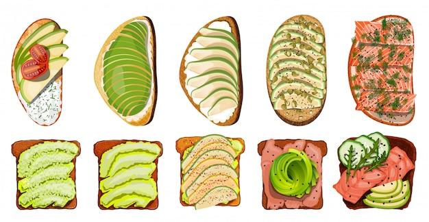 Set di toast con carne di salmone