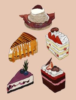 Set di torta, mont blanc, banoffee, panna fresca a strati di fragole, torta ai mirtilli e torta ai frutti di bosco. vettore di schizzo di disegnare a mano.