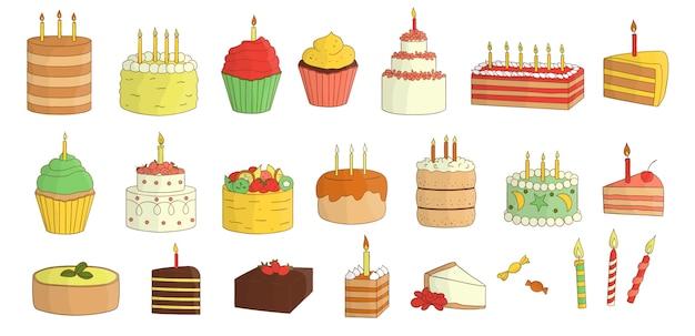 Set di torte colorate con candele, palloncini, regali. raccolta di compleanno. confezione luminosa e allegra di prodotti da forno dolci. disegno colorato di torte e caramelle.