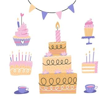Set di torte di compleanno. cherry, torte alla fragola, cupcake, topper, candele con candele e altre decorazioni per feste di compleanno, isolati su sfondo bianco.