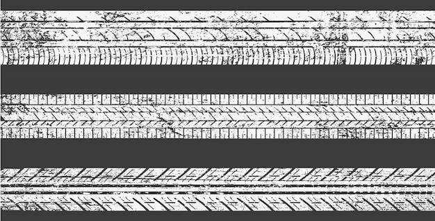 Set di tracce di pneumatici sporchi