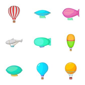 Set di trasporto aereo diverso, stile cartoon
