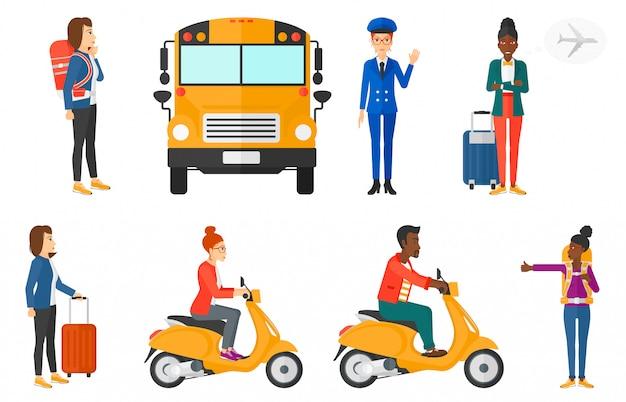 Set di trasporto con persone che viaggiano.