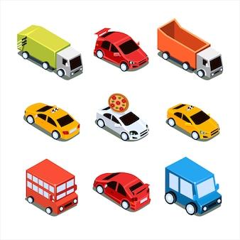 Set di trasporto di città isometrica