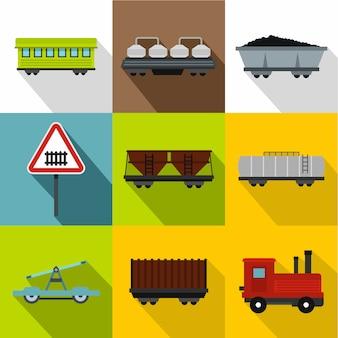 Set di trasporto ferroviario, stile piatto