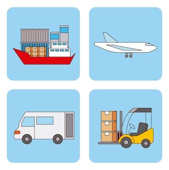 Set di trasporto logistico e trasporto di consegna