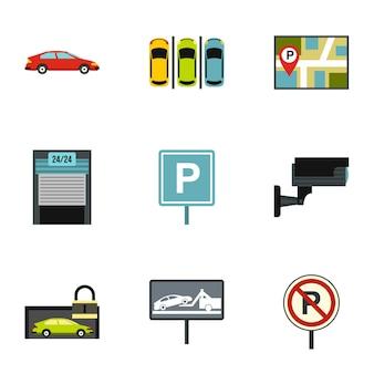 Set di trasporto per il parcheggio, stile piatto