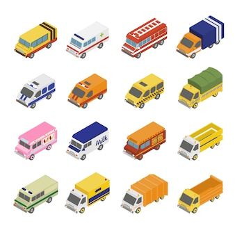 Set di trasporto utility. piatto 3d isometrico