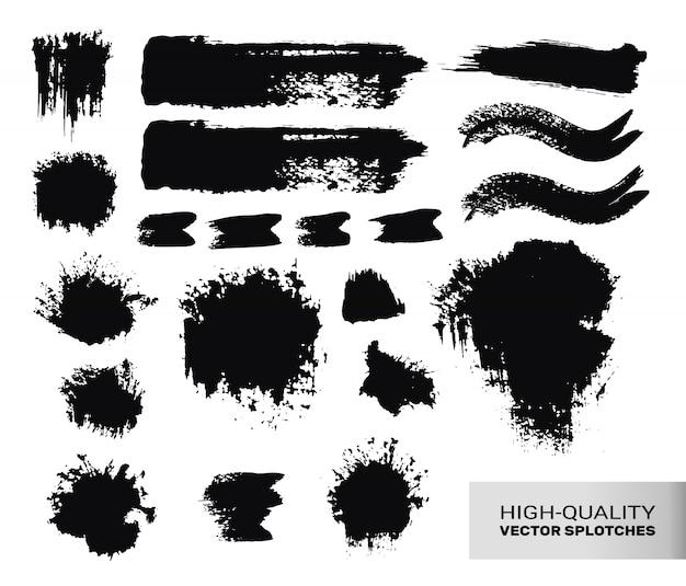 Set di tratti di pennello inchiostrato.