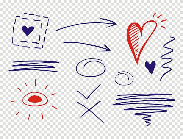 Set di tratti sottolineati in doodle style varie forme