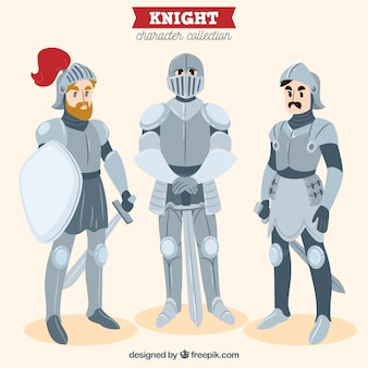 Set di tre armature di cavalieri