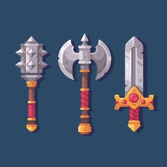 Set di tre armi fantasy medievali. illustrazione piana della mazza di lotta, dell'ascia e della spada.