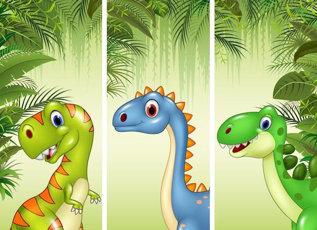 Set di tre dinosauri