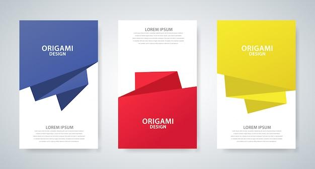 Set di tre disegni di copertina con stile origami astratto