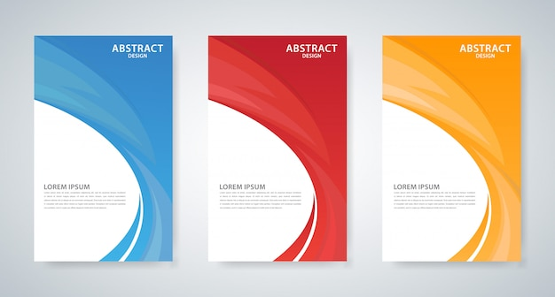 Set di tre disegni di copertina onda astratta