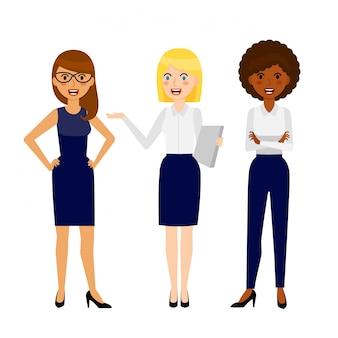 Set di tre diverse donna d'affari sorridente