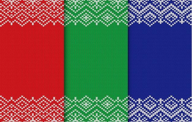 Set di tre sfondi di natale a maglia. ornamento geometrico senza cuciture di diversi colori.