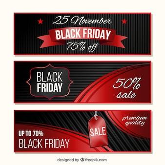 Set di tre striscioni con dettagli rossi per venerdì nero