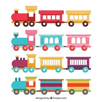 Set di treni giocattoli in design piatto