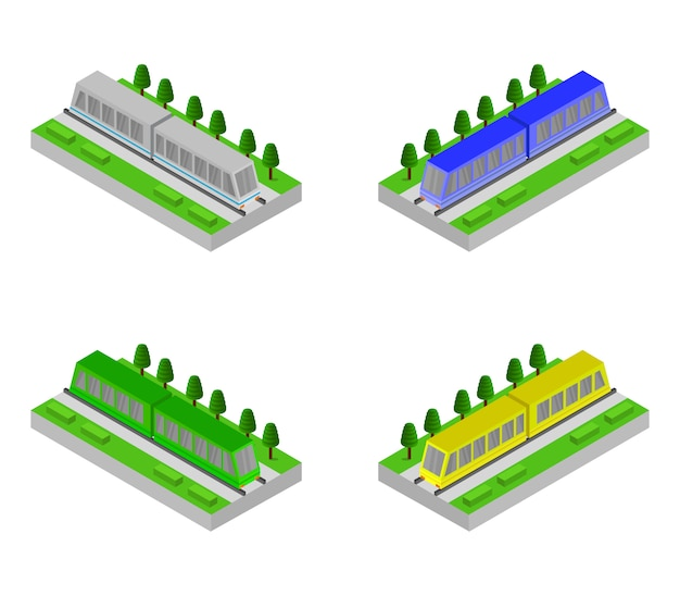 Set di treni su binario isometrico