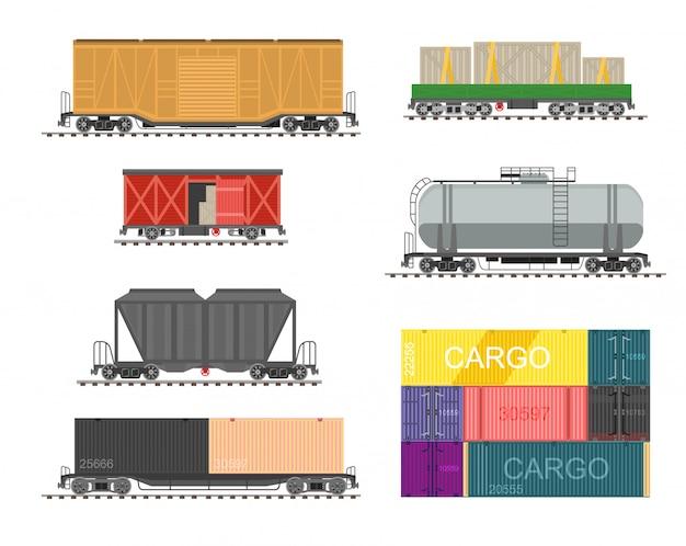 Set di treno per carico di consegna.