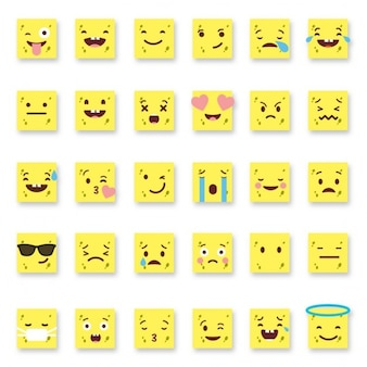 Set di trentasei semplici emoticon giallo