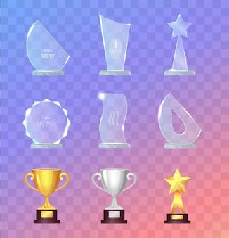 Set di trofei e bicchieri sportivi in vetro e metallo