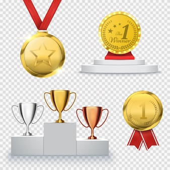 Set di trofeo vincitore isolato su trasparente. modello di premio. medaglia e podio