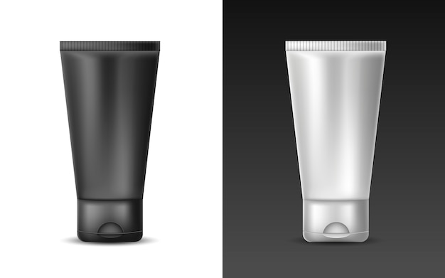 Set di tubo bianco realistico bianco e nero