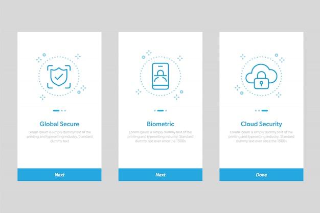 Set di ui per le schermate delle app di sicurezza integrate. concetto e modello semplificato schermate illustrative per app mobili.