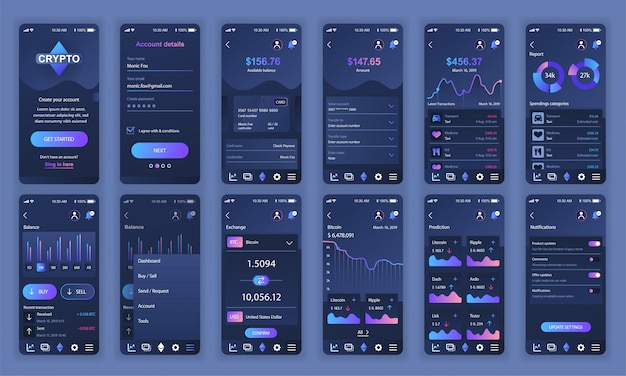 Set di ui, ux, schermate gui app di cryptocurrency piatta