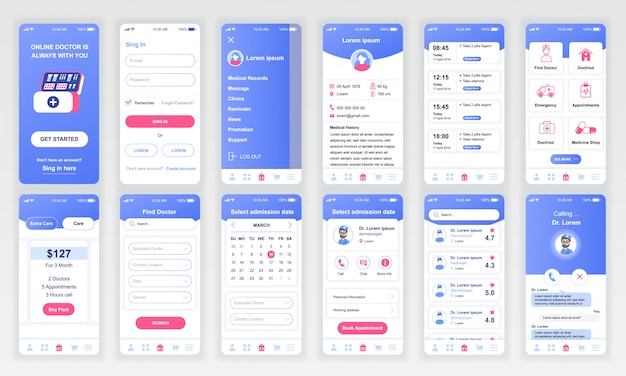 Set di ui, ux, schermate gui app di medicina piatta