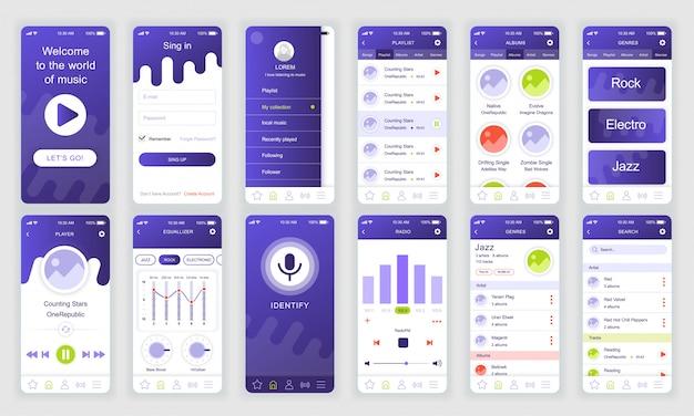 Set di ui, ux, schermate gui app di musica piatta