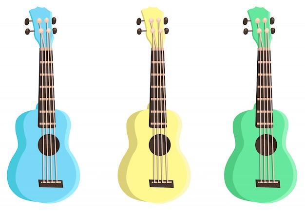 Set di ukulele colorate