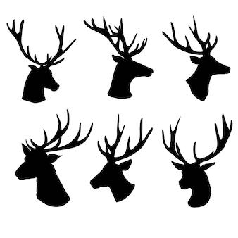 Set di una silhouette testa di cervo su sfondo bianco