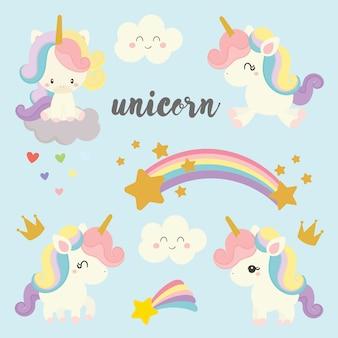 Set di unicorno carino.