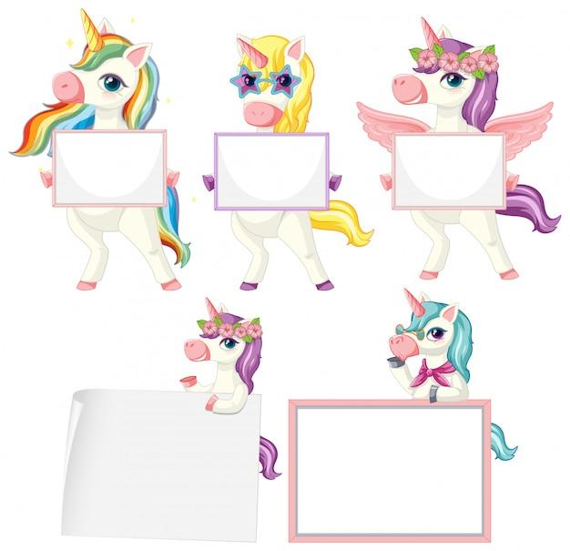 Set di unicorno che tiene bandiera in bianco