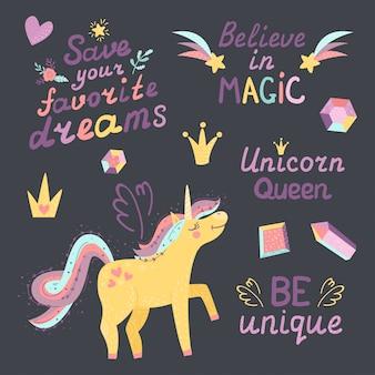 Set di unicorno fantasy, cristallo, corona e lettering