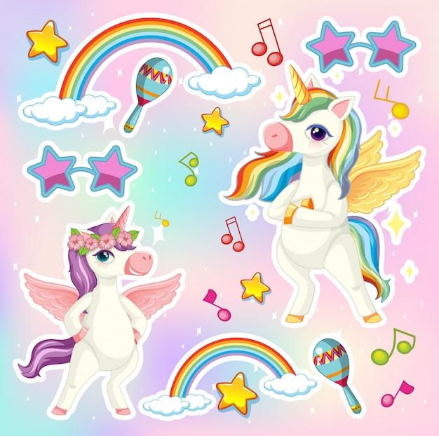 Set di unicorno o pegasus con icona tema musicale su sfondo di colore pastello