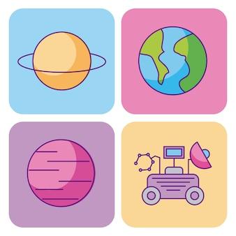 Set di universo di scienza dello spazio e dell'astronomia