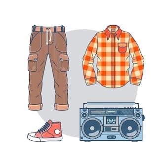 Set di uomini alla moda usura e accessori. confezione di elementi di abbigliamento maschile alla moda sottile linea in stile hipster.