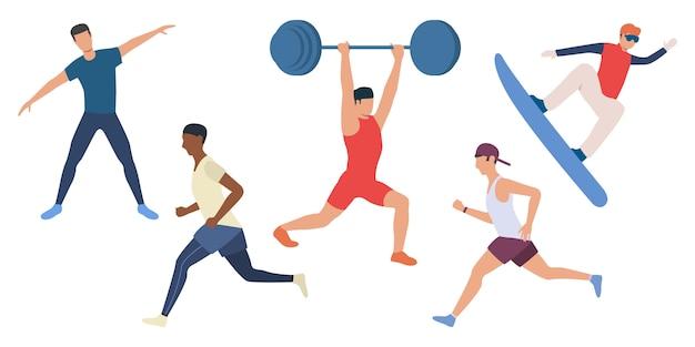 Set di uomini che fanno sport