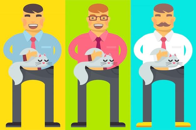 Set di uomini con un gatto