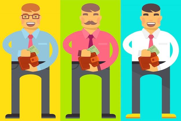 Set di uomini con un portafoglio
