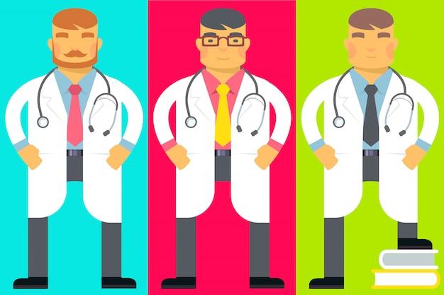 Set di uomini con uno stetoscopio