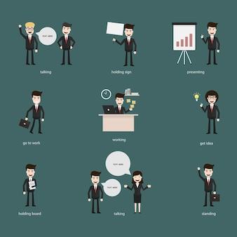 Set di uomini d'affari con bolle di discorso