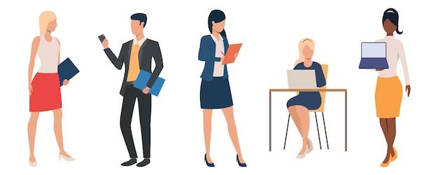 Set di uomini e donne che indossano abiti da lavoro