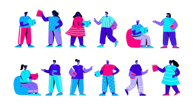 Set di uomini e donne che leggono il libro persone personaggio piatto blu persone